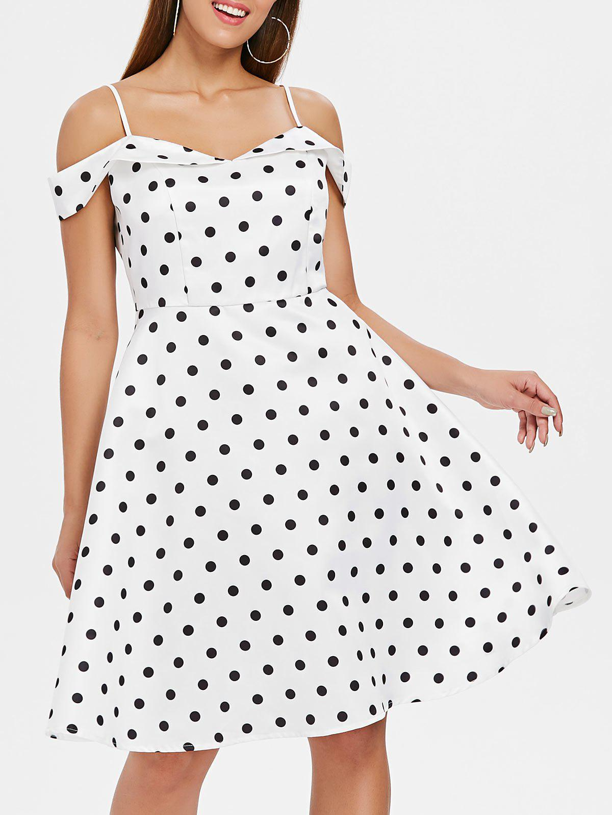Polka Dot Shoulder Cut Flare Dress - MILK WHITE L