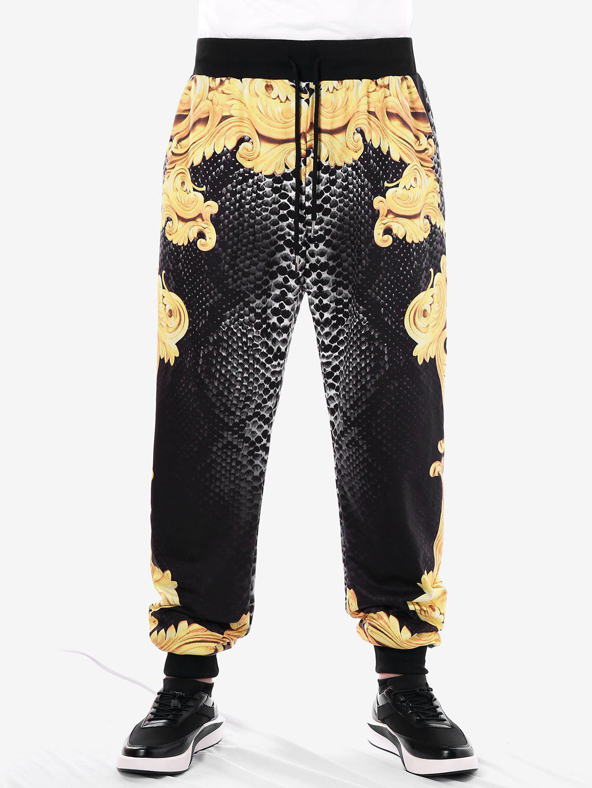 Drawstring Filigree Print Jogger Pants - BEE YELLOW XL