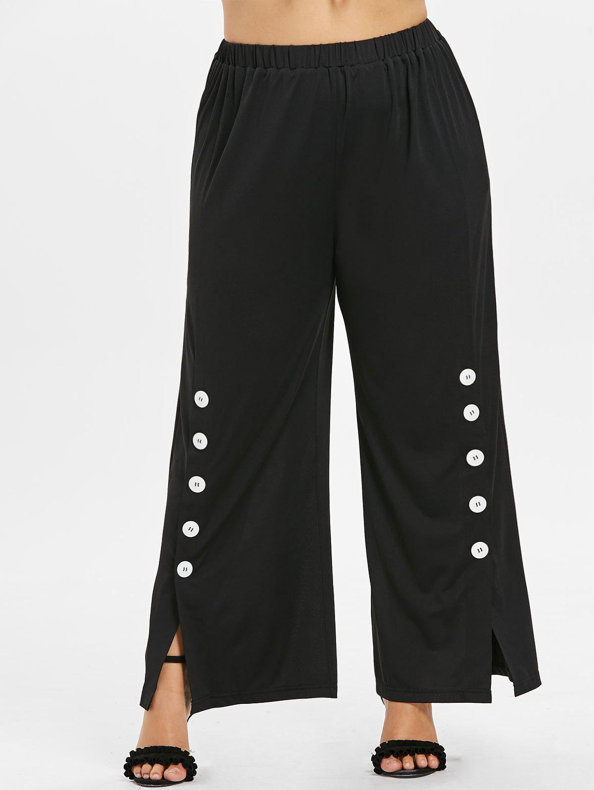 Plus Size Split Sides Wide Leg Pants - BLACK L
