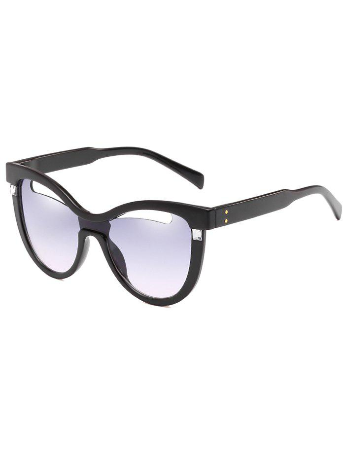 Vintage Hollow Out Frame Clear Lens Catty Sunglasses - BLUE GRAY