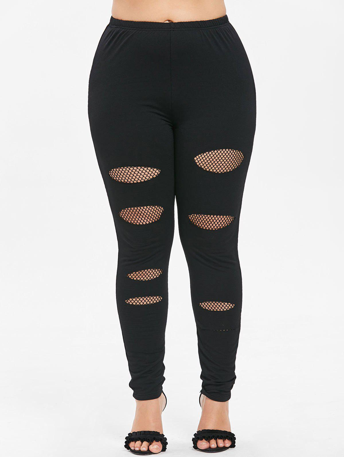 Plus Size Fishnet Ripped Leggings - BLACK 4X