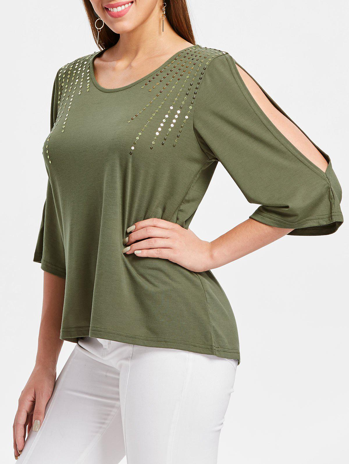 Cut Out Sleeve Sequin Embellished T-shirt - ARMY GREEN M