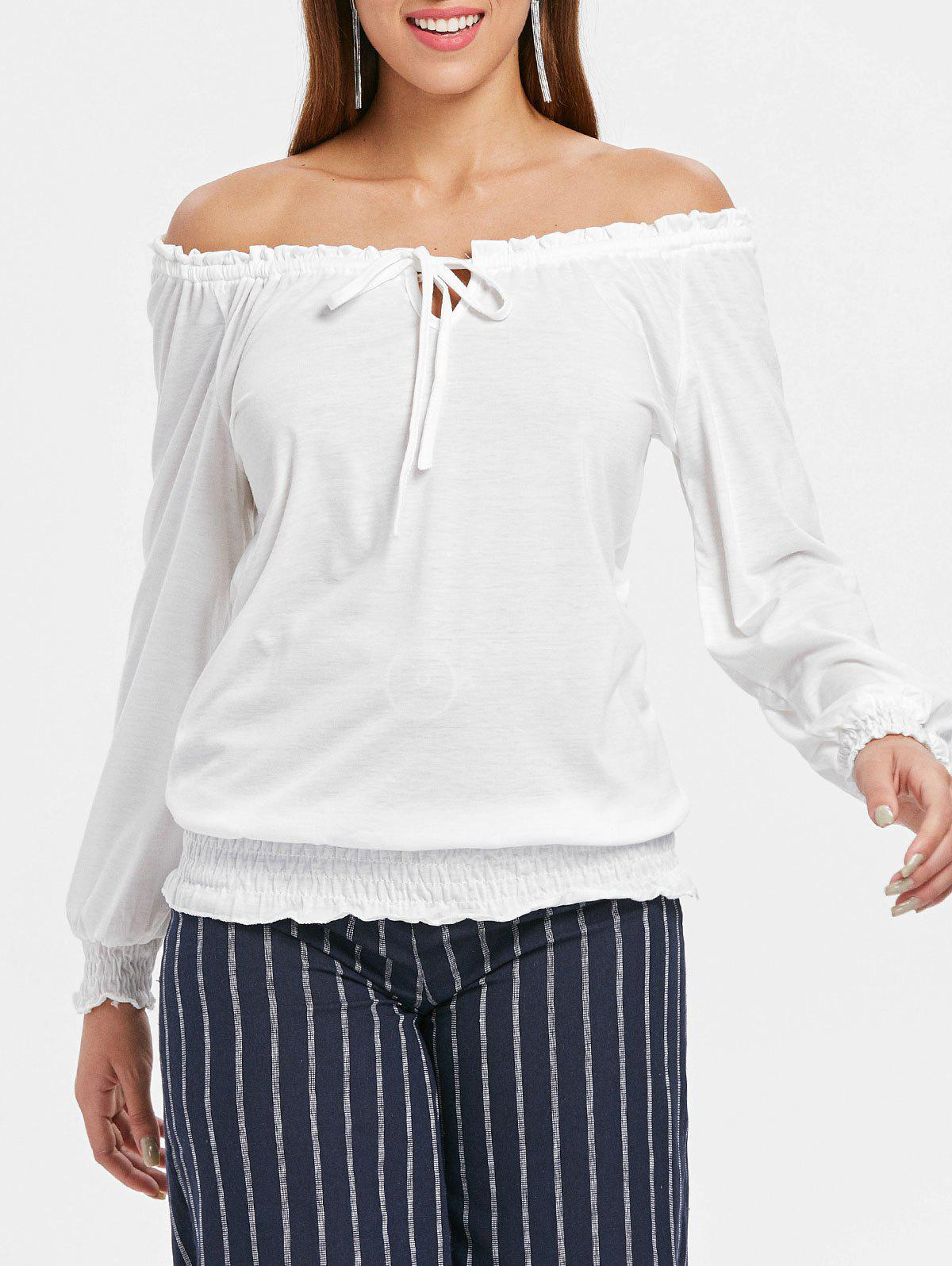 Long Sleeve Off The Shoulder T-shirt - WHITE L