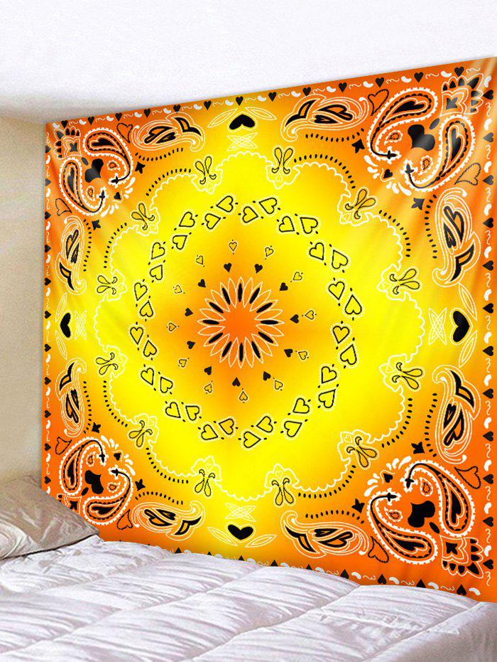 2018 Heart Flower Printed Wall Tapestry Hanging Decoration YELLOW W ...