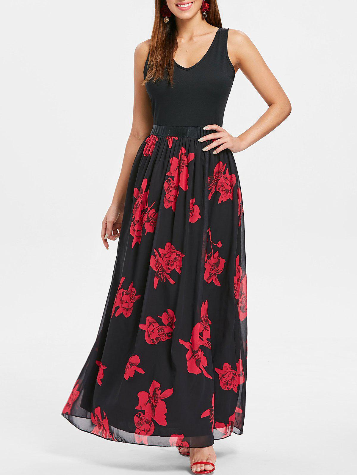 Sleeveless Floral Print Maxi Dress - BLACK L