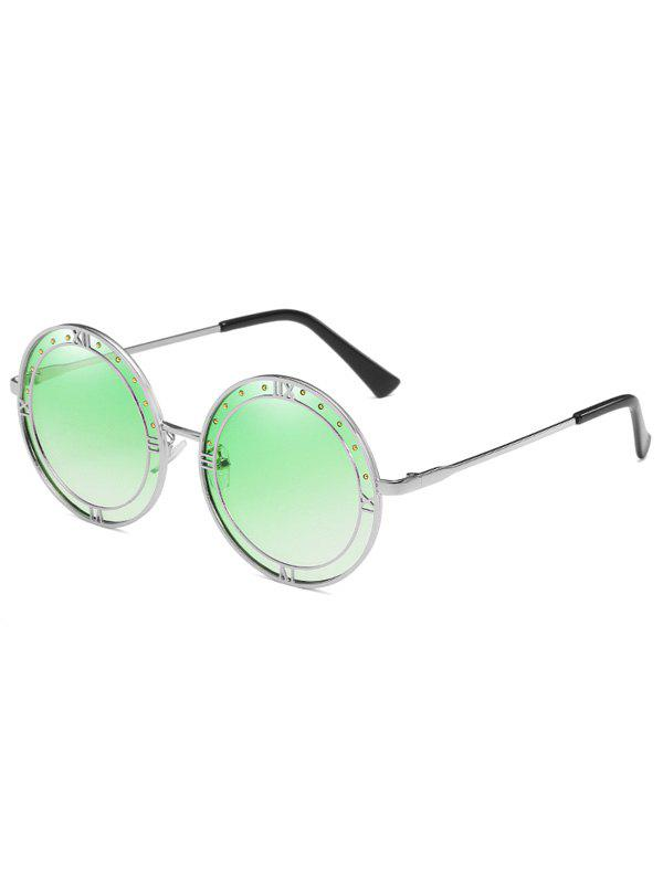Stylish Roma Metal Frame Circle Sunglasses - STOPLIGHT GO GREEN