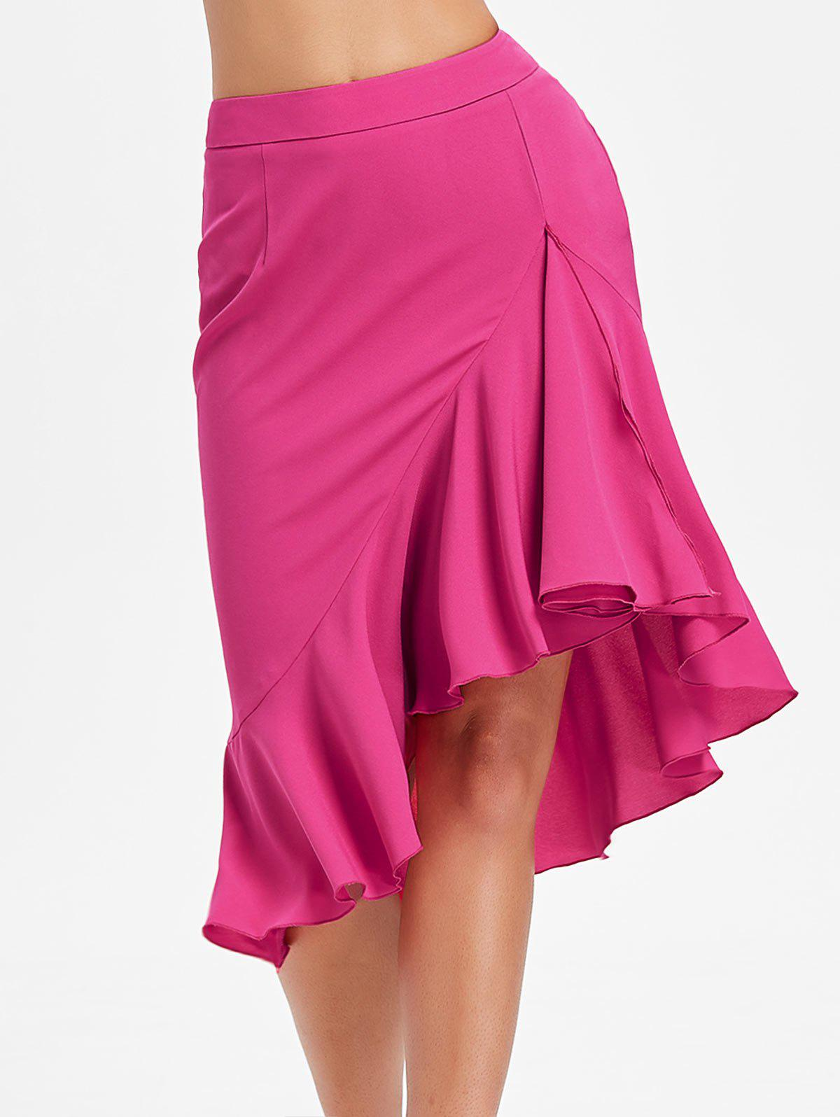 Ruffled High Low Mermaid Skirt - ROSE RED M