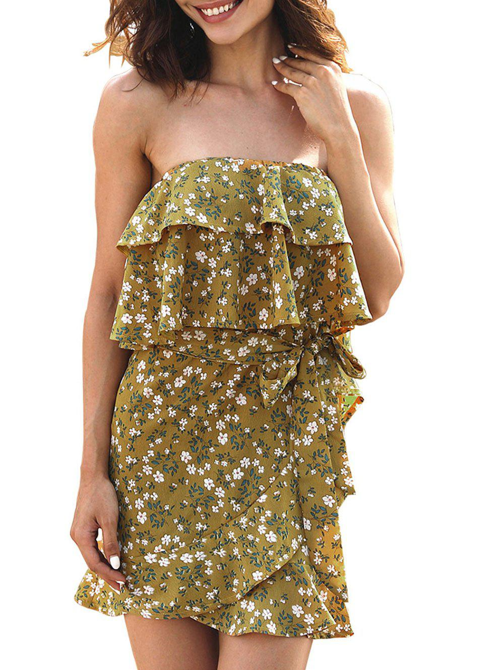 Strapless Layered Ruffle Dress with Belt - GOLDEN BROWN L