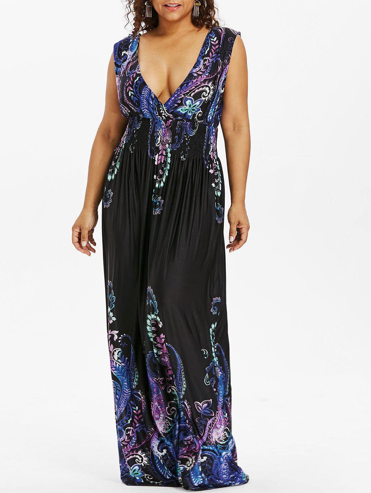Paisley Plus Size Plunge V Neck Maxi Bohemian Dress - COBALT BLUE 6XL