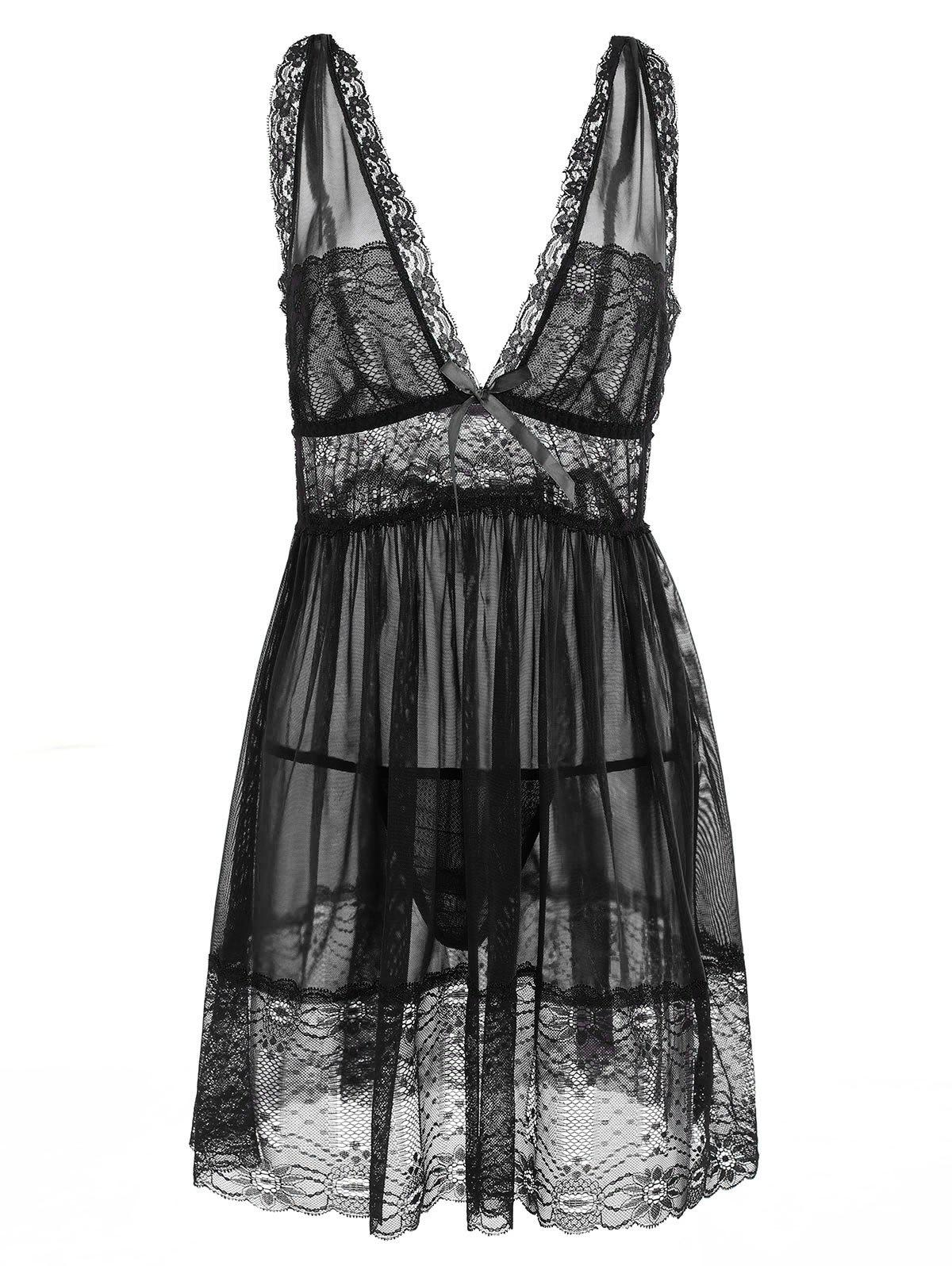 Plus Size Lace Plunging Babydoll - BLACK 4X