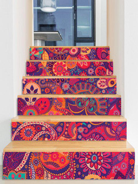 Bohemian Print Decorative Stair Stickers - multicolor 6PCS:39*7 INCH( NO FRAME )