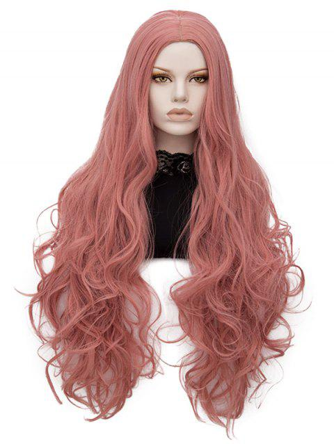 Long Center Parting Wavy Lolita Party Synthetic Wig - PINK ROSE