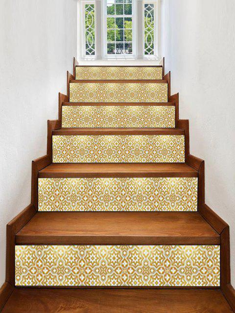 Star Geometric Printed Decorative Stair Decals - GOLD 6PCS:39*7 INCH( NO FRAME )