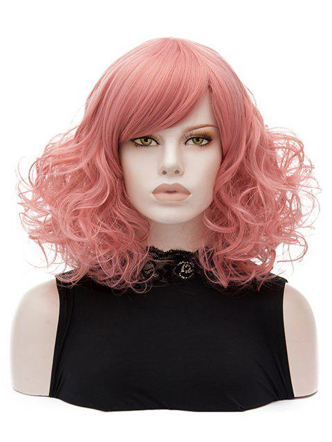 Inclined Bang Medium Curly Lolita Synthetic Wig - LIGHT PINK