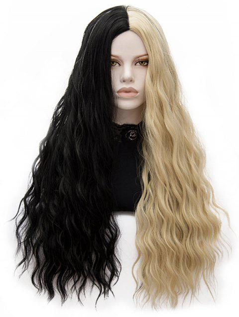 Long Center Parting Two-tone Natural Wavy Synthetic Wig - multicolor
