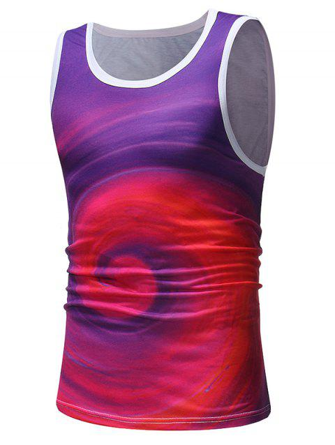 Volution Printed Sleeveless T Shirt - PURPLE XL