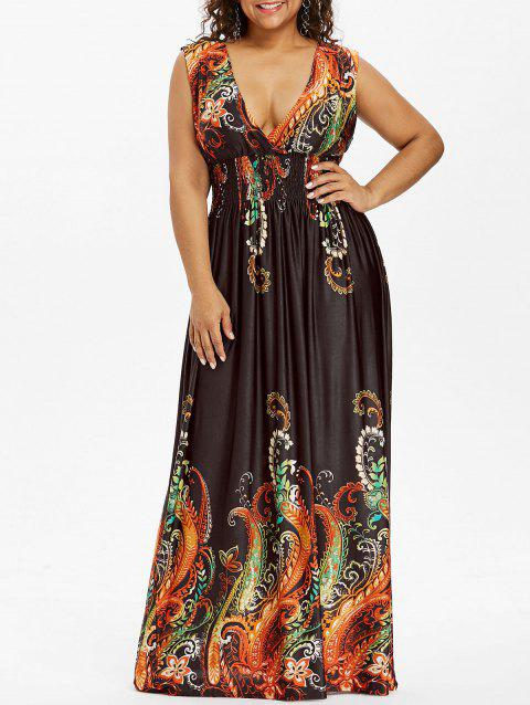 Paisley Plus Size Plunge V Neck Maxi Bohemian Dress - COFFEE 4XL