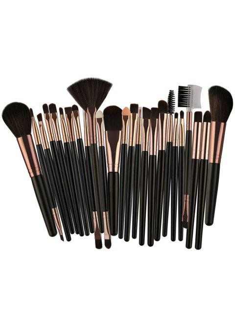 Set of 25Pcs Ultra Soft Fiber Hair Cosmetic Brush Set - DARK GOLDENROD