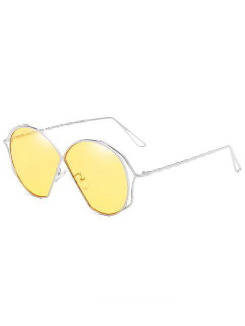 Novelty Metal Frame Irregular Flat Lens Sunglasses - CORN YELLOW