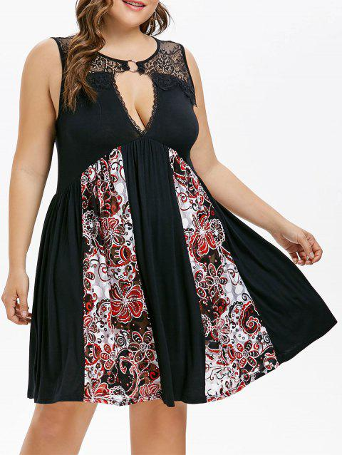 Plus Size Lace Yoke Empire Waist Dress - BLACK 4X