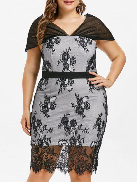 Plus Size Knee Length Lace Overlay Dress - BLACK 3X