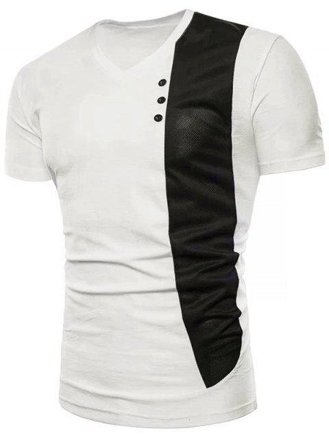 Contrast Vertical Fabric Splicing Button Decorating Tee - WHITE L