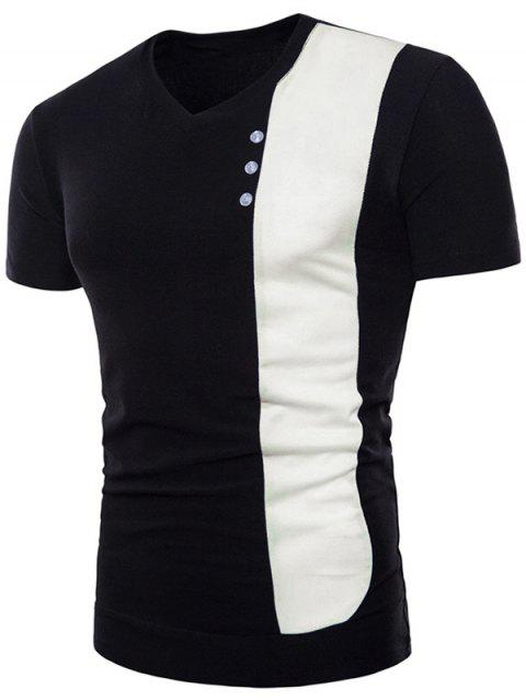Contrast Vertical Fabric Splicing Button Decorating Tee - BLACK M
