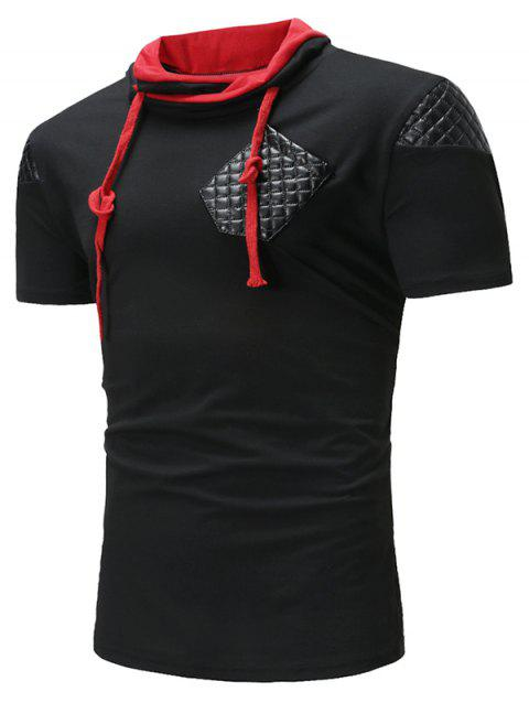 Lace Up Patch Short Sleeve Casual T-shirt - BLACK 2XL