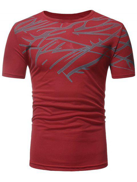 Top Print Short Sleeve Sports T-shirt - LOVE RED M
