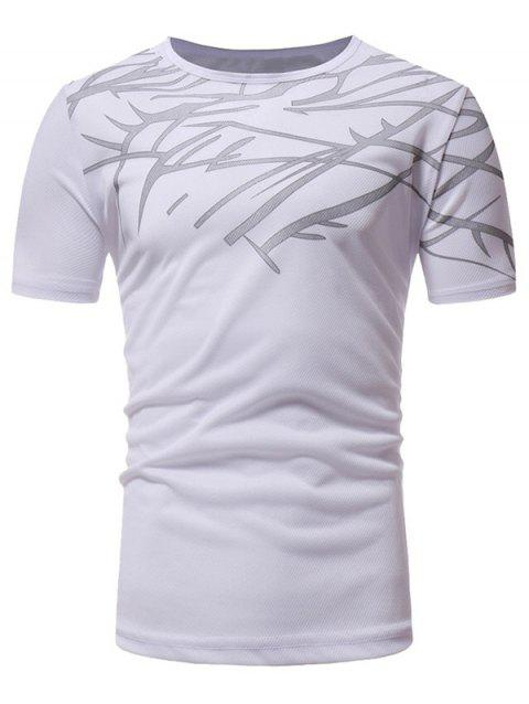 Top Print Short Sleeve Sports T-shirt - WHITE S
