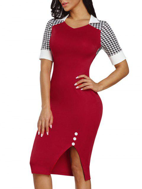 V Neck Houndstooth Sleeve Bodycon Dress - RED L