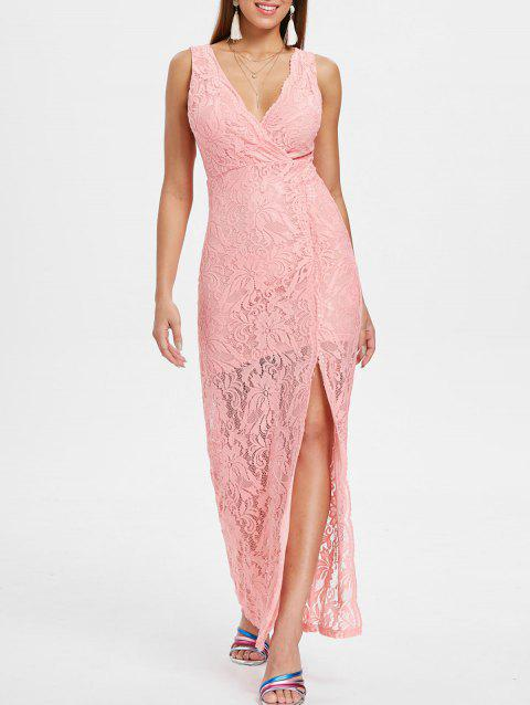 Thigh Slit Maxi Lace Cocktail Dress - LIGHT PINK M