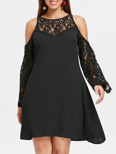 Cut Out Shoulder Lace Sleeve Straight Dress - BLACK XL
