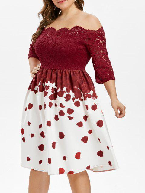 Plus Size Lace Insert Party Dress - RED L