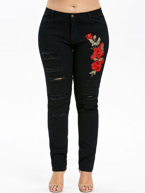 Plus Size Embroidery Ripped Jeans - BLACK 5X