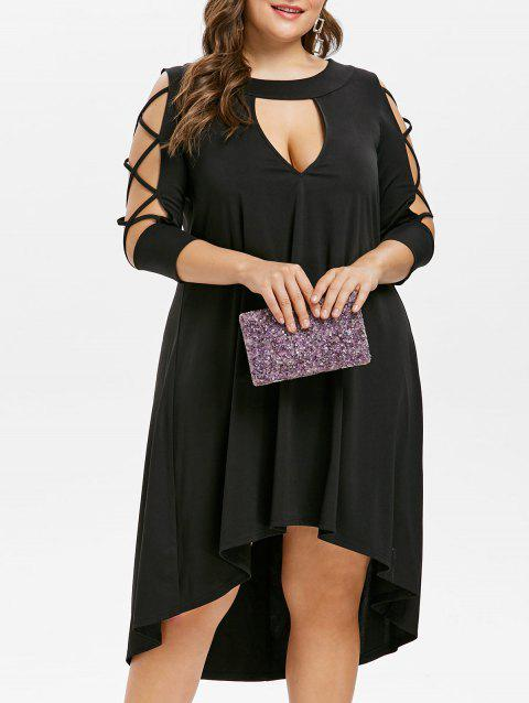 Plus Size Cut Out High Low Dress - BLACK 3X