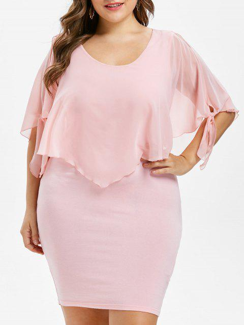 Plus Size Scoop Neck Overlay Dress - LIGHT PINK 1X