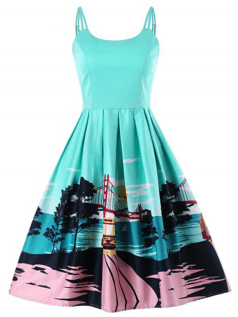 Open Back Double Straps Printed Dress - MACAW BLUE GREEN S