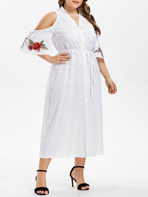 Plus Size Cold Shoulder Tie Belt Shirt Dress - WHITE 5X