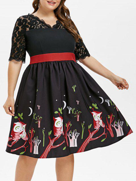 Plus Size Owl Print Vintage Dress - BLACK 4X