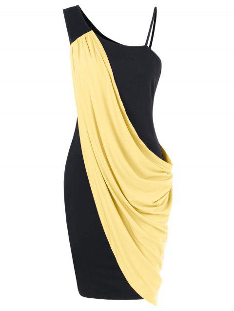 One Shoulder Overlay Bodycon Dress - YELLOW M
