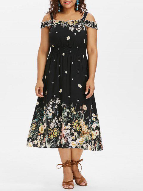 Plus Size Floral Cold Shoulder Midi Dress - BLACK 2X