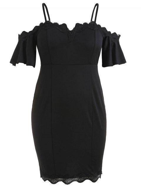 Plus Size Flare Sleeve Knee Length Fitted Dress - BLACK L
