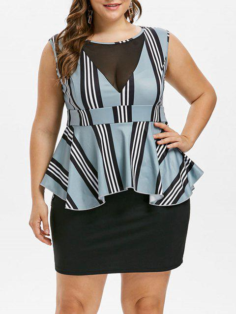 Plus Size Striped Ruffle Peplum Dress - MACAW BLUE GREEN 1X