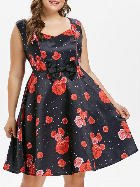 Robe à Pois Style Vintage Grande-Taille - Rouge 2X