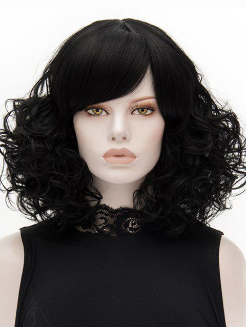 Medium Inclined Bang Curly Heat Resistant Synthetic Wig - BLACK