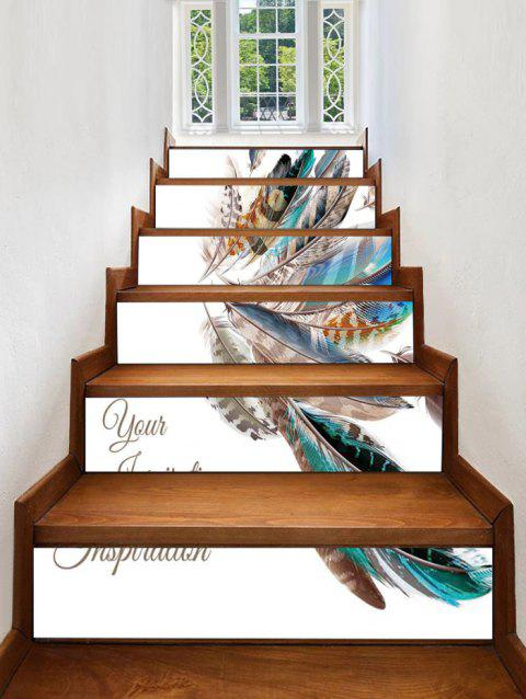 Feather Pattern Decorative Stair Decals - multicolor 6PCS:39*7 INCH( NO FRAME )