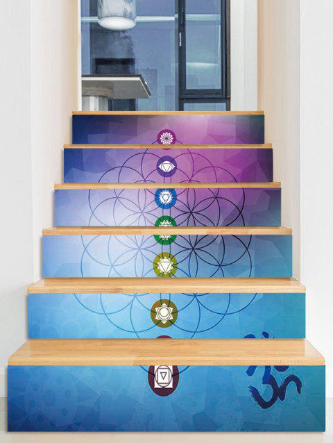 Geometric Round Print Decorative Stair Stickers - multicolor 6PCS:39*7 INCH( NO FRAME )