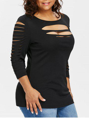 7961e3843f6 Plus Size Ladder Ripped Cut Front T-shirt