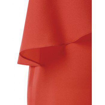 Skew Collar Flounce Dress - BRIGHT ORANGE XL